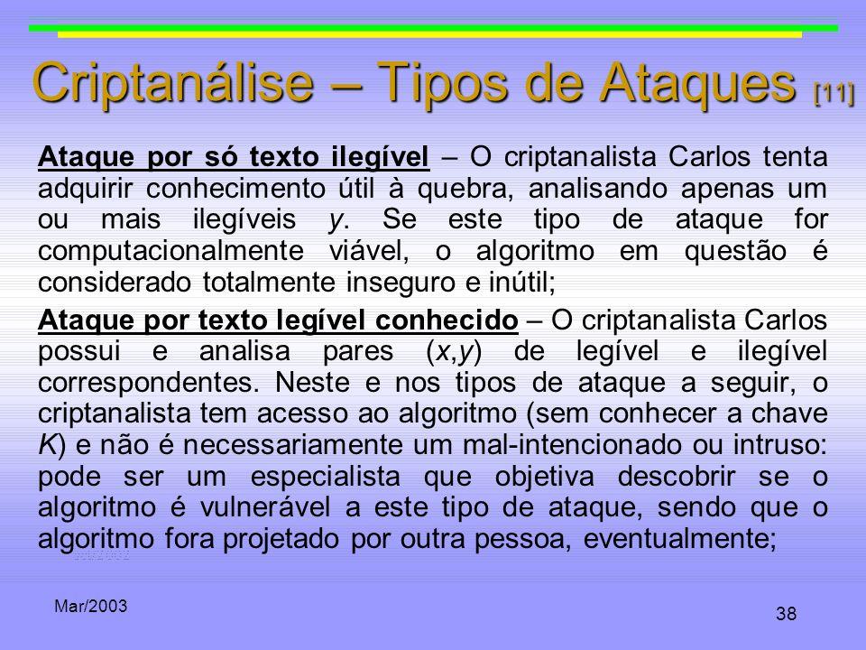 Criptanálise – Tipos de Ataques [11]